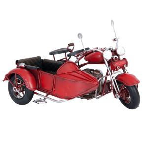 Macheta motocicleta cu atas retro metal rosie 18 cm x 14 x cm 11 cm