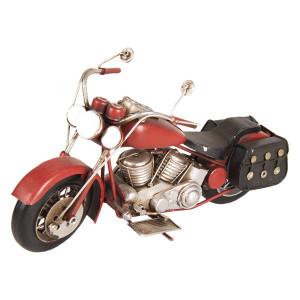 Macheta motocicleta retro metal rosie 28 cm x 10 cm x 14 cm