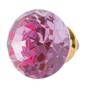 Buton mobila din fier auriu si ceramica roz Ø 3 cm x 3 cm
