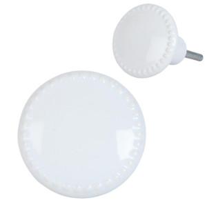 Buton mobila din fier si ceramica alba Ø 4 cm x 4 cm
