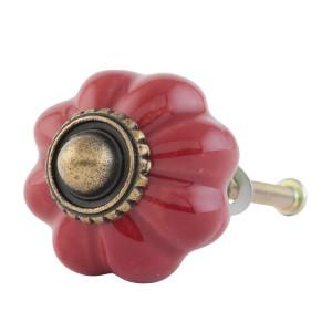 Buton mobila din fier si ceramica rosie Ø 3 cm