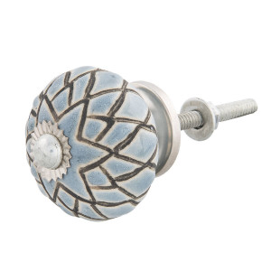 Buton mobila din fier si ceramica gri neagra Ø 4 cm x 4 cm