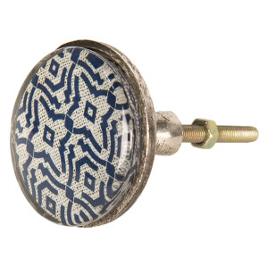 Buton mobila din fier si sticla albastra alba Ø 5 cm x 8 cm