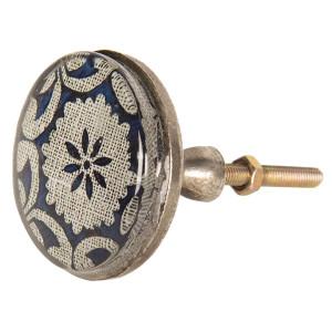 Buton mobila din fier si sticla albastra crem Ø 5 cm x 8 cm