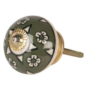 Buton mobila din fier si ceramica verde model Floral Ø 4 cm x 4 cm
