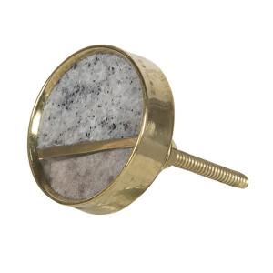 Buton mobila din fier auriu si piatra gri Ø 4 cm
