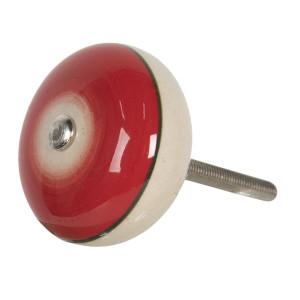 Buton mobila din fier si ceramica rosie crem Ø 4 cm x 3 cm