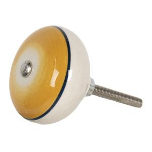 Buton mobila din fier si ceramica galbena crem Ø 4 cm x 3 cm