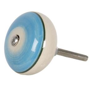 Buton mobila din fier si ceramica albastra crem Ø 4 cm x 3 cm