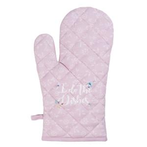 Manusa de bucatarie termorezistenta bumbac roz alb 16 cm x 30 cm