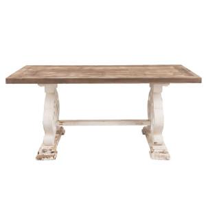 Masa din lemn maro si alb antichizat 180 cm x 90 cm x 82 h
