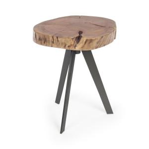Masuta de cafea cu picioare din fier negru si blat lemn maro Aron Ø 35 cm x 50 h