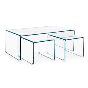 Set 3 masute din sticla transparenta Iride 110 cm x 60 cm x 41 h