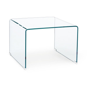Masuta din sticla transparenta Iride 60 cm x 60 cm x 43 h