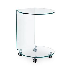 Masuta rotunda din sticla transparenta Iride 45 cm x 45 cm x 60 h