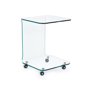 Masuta din sticla transparenta Iride 45 cm x 45 cm x 60 h