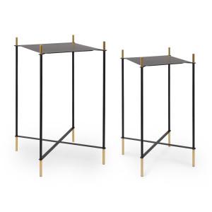 Set 2 masute cafea metal negru auriu Anisha 34 cm x 34 cm x 64h; 39 cm x 39 cm x 71 h