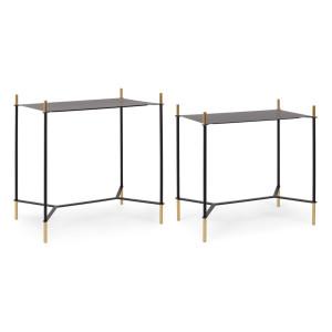 Set 2 masute cafea dreptunghiulare metal negru auriu Anisha 54 cm x 34 cm x 54 cm; 59 cm x 39 cm x 61 h