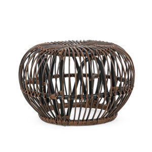 Masuta cafea rattan maro negru Doradal Ø 65 cm x 44 cm