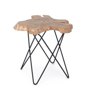 Masuta cafea picior fier alb si blat lemn natur Savanna 50 cm x 50 cm x 50 h
