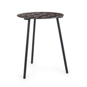 Masuta cafea cu picioare lemn si blat sticla neagra Gothic Ø 40 cm x 50 h
