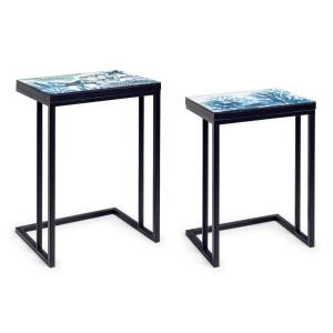 Set 2 masute cu cadru din fier negru si blat mdf Reef 41 cm x 30 cm x 56 h; 46 cm x 33 cm x 63 h
