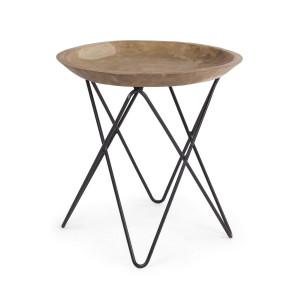 Masuta cafea cu picior fier negru si blat lemn natur Zahira Ø 50 cm x 50 h