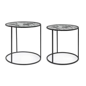 Set 2 masute cafea cu cadru fier negru si blat sticla World Ø 40 cm x 41 h; Ø 45 cm x 45 h