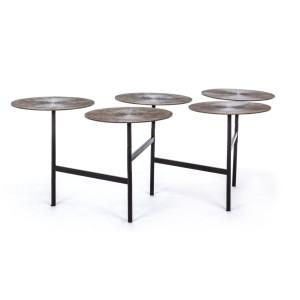 Masuta cafea pliabila cu 5 blaturi metal gri antichizat picioare fier negru Kalindi 17 cm x 47 cm; ø 37.5 cm x 1.5 h