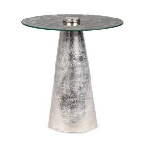 Masuta cafea cu blat sticla picior metal argintiu Dinpal 40 cm x 44 h