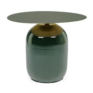Masuta cafea metal verde auriu Nalima Ø 50 cm x 39.5 h