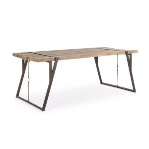 Masa cu picioare din fier si blat lemn maro Blocks 202 cm x 94 cm x 77 h