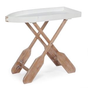 Masa pliabila din lemn alb maro Gozzo 76 cm x 40 cm x 66 h