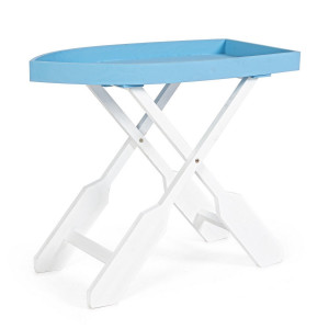 Masa pliabila din lemn alb albastru Gozzo 60 cm x 30 cm x 56 h
