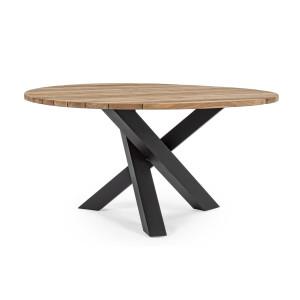 Masa din lemn cu picioare negre si blat natur Brandon Ø 150 cm x 77.5 h