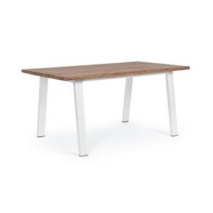 Masa cu picioare din fier alb si blat lemn natur Oslo 160 cm x 90 cm x 76 h