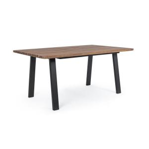 Masa cu picioare din fier negru si blat lemn natur Oslo 160 cm x 90 cm x 76 h