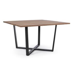 Masa cu picioare din fier negru si blat lemn natur Helsinki 130 cm x 130 cm x 75 h