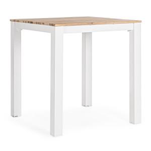 Masa cu cadru din aluminium alb si blat din lemn maro Kailani