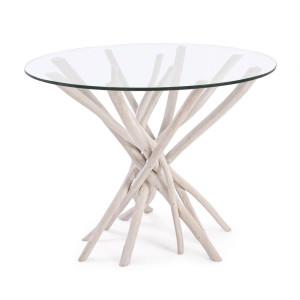Masa din lemn natur cu blat din sticla Sahel