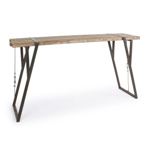 Masa inalta tip bar cu picioare din fier maro si blat din lemn Blocks 200 cm x 54 cm x 110 h