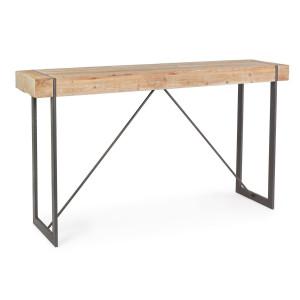 Masa cu picioare din fier negru si blat lemn natur Garrett 200 cm x 50 cm x 110 h