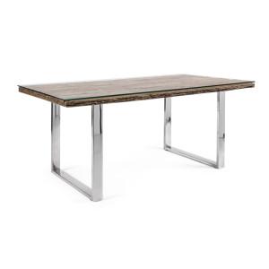 Masa cu picioare din otel argintiu si blat lemn maro sticla Stanton 180 cm x 90 cm x 76 h