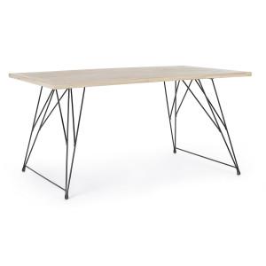 Masa cu picioare fier negru si blat lemn natur District 160 cm x 90 cm x 76 h