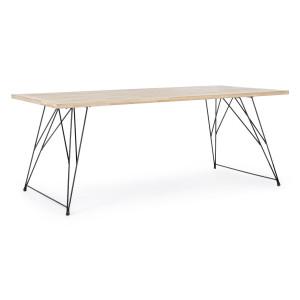 Masa cu picioare fier negru si blat lemn natur District 200 cm x 90 cm x 76 h