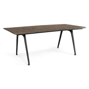 Masa picioare fier negru cu blat lemn maro Codrin 200 cm x 90 cm x 76 h