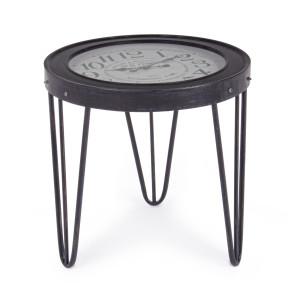 Masuta cafea cu ceas fier forjat negru Ø 60 cm x 56 h