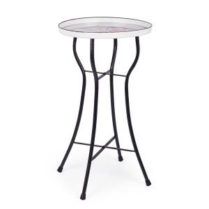 Masuta cafea fier negru alb roz Rosalie Ø 41 cm x 74 h