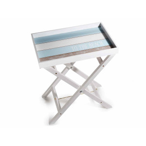 Masuta cafea pliabila din lemn alb albastru Marin 48 cm x 32 cm x 55,5 h