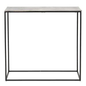 Consola din fier negru si blat aluminiu gri 89 cm x 25 cm x 75 h